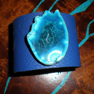 Jewelry - Navy Blue Leather Cuff Bracelet w/Teal Turquoise